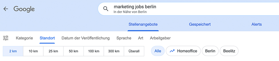 Google for Jobs Filterfunktion